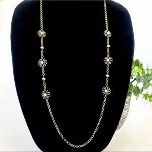 LOFT brass crystal flower layering necklace NWT